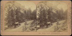 Gardner Canyon, Yellowstone Park (Boston Public Library) Tags: cliffs canyons bostonpubliclibrary bpl stereographs photographicprints landscapephotographs carriagescoaches nationalparksreserves