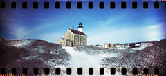 North Light (neilsonabeel) Tags: ri winter lighthouse snow film 35mm lomo lomography kodak rhodeisland analogue blockisland northlight sprocketrocket