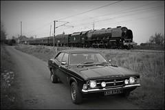 Cortina & Duchess.Sutton.4.5.14 (deltic17) Tags: cortina steamtrain fordcortina duchessofsutherland 46233 mk3cortina