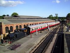 along the sheds (haymrk) Tags: station train coach engine railway steam bluebell sheds