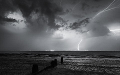 Apocalyptic (Scott Baldock) Tags: light sea seascape storm beach rain weather night canon long exposure mood time low strike lightning heavy essex southend shoeburyness thunder 6d july2014
