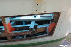 IMG_3934 - Port Hadlock WA - Northwest School of Wooden Boatbuilding - 2013 Repair and Restoration - HOBO - frame repair, port side aft (BlackShoe1) Tags: wood port boat washington olympicpeninsula wash pacificnorthwest wa jefferson woodenboat washingtonstate hobo woodboat boatrepair countyeast porthadlockwa boatwooden hobohobohobo hadlockjefferson countymv repairwood tugwoodtug
