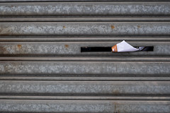 Eating letterbox (akinasees) Tags: metal long rusty clean neat junkmail slot rectangular unconventional metalshutter efficient unlabelled