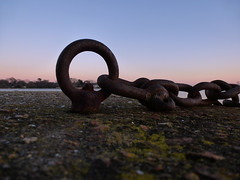ring and chain (dawn.v) Tags: uk winter sunset england cold rust rusty ring chain dorset chilly february poole midwinter poolepark lumixtz25