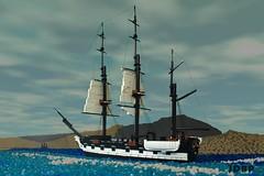 Its time to go.... (peggyjdb) Tags: sea history beagle island ship lego darwin galapagos british hms britishhistory hmsbeagle galapagosisland