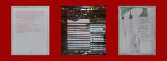 """Tapestry Diary 21. April: Men and their Hair, Women and Blood: 2 Talks in the Break Room. Drawing in my Prompter Book Mnner und ihre Haare, Frauen und Blut: 2 Gesprche im Konversationszimmer. Zeichnung + Textausschnitt """"Brooklyn Memoiren"""" Soufflierbuch (hedbavny) Tags: vienna wien red woman man male rot tattoo ink work hair austria mirror sterreich blood stencil women theater mask theatre rehearsal drawing quote spiegel diary text probe kommunikation mann tage grn weaver pause frau kalender schrift arbeit tagebuch weber loom tapestry teppich blut tattooing maske zeichnung gesprch menstruation haar weft zitat webstuhl schablone tapisserie handschrift reflektor ttowierung wartezeit rasieren regel rasur souffleuse schnittmuster bluten blutrot prompter weavingloom gewebt krperbehaarung teppichweber monthlyperiod textbuch monatsblutung hedbavny ingridhedbavny"""