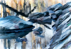 Reflections (Terry Pellmar) Tags: texture water reflections river rocks digitalart digitalpainting
