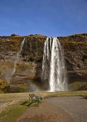 Seljalandsfoss Waterall (Jo Evans1 - on catch up) Tags: nature bench waterfall iceland rainbow power massive monday seljalandsfoss hbm