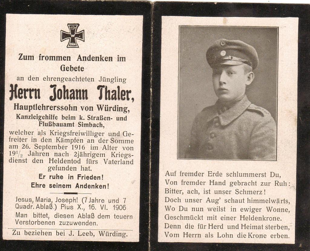 Johann thaler wooway1 tags weltkrieg thaler totenzettel johannthaler sterbebildchen würding wurding