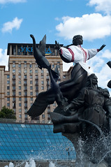 Monument of City-founders (lyule4ik) Tags: street city travel stella summer sky people urban woman men history tourism monument water fountain statue architecture bronze square swan construction scenery europe downtown day symbol brother famous style landmark center ukraine tourist legendary national hero figure warrior archer independence ukrainian legend kiev kyiv myth maidan founder kyi destionation khoryv