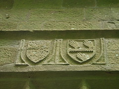 Three hands (Nekoglyph) Tags: green stone three carved hands coatofarms yorkshire text historic oldchurch shields holycross whorlton