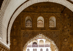 The Alhambra, Granada - Palacios Nazares - Palacio de Comares - Patio de los Arrayanes (Court of the Myrtles), arch over the entrance to the Sala de la Barca (Hall of the Boat) and Torre de Comares (peripathetic) Tags: building beauty architecture canon buildings spain worldheritagesite espana alhambra moorish granada 5d palaces 2016 nasrid nazaries 5dmkiii 5dmk3 canoneos5dmk3