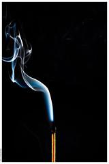 An Extinguished Match and Smoke (Mika Latokartano) Tags: blue smoke match swirl matchstick