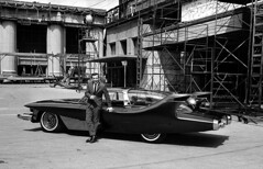 """Singer Bobby Darin stands beside a hand-made automobile called the """"Bobby Darin Dream Car,"""" in Hollywood, California. Owner Andrew Di Dia, who designed and built the $150,000 car, will take it on a nationwide tour. March 31, 1961 [1200  773] #HistoryPorn (Histolines) Tags: california history car march automobile tour handmade who it andrew dia retro 150 will hollywood singer di take timeline bobby 1200 darin 31 000 nationwide built 1961 owner stands called beside designed 773  vinatage historyporn bobbydarindreamcar histolines httpifttt1txfdw8"""