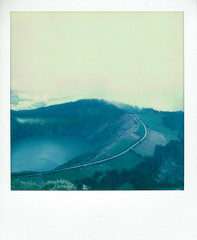 (kubakozal) Tags: lake mountains color portugal polaroid sx70 volcano islands scenery view lagoa azores impossible saomiguel setecidades caldeira