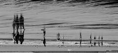 Sand reflections / reflejos en la arena (Luis DLF) Tags: byn beach reflections sand asturias playa arena gijon inverse reflejos