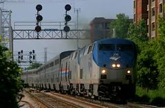 The Builder in Morton Grove, IL (Jeff Carlson_82) Tags: railroad station train illinois 206 8 railway il amtrak searchlight metra ge signal railfan eastbound empirebuilder superliner p42 mortongrove