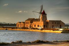 Saline Sunset (hapulcu) Tags: italia italie italien italy mediterranean sicile sicilia sicily sizilien trapani saline saltpan sunset windmill winter