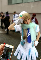 IMG_2359 (jumppoint5) Tags: street city urban blur girl pose photo colours cosplay bokeh handphone