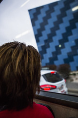 (paralelsuns85) Tags: street blue red color colour bus geometric car wall lady digital canon square photography eos interesting pattern candid transport streetphotography commute tasmania hobart canonef2470mmf28lusm zigzag canon6d