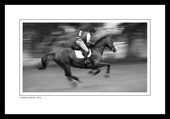 Galloping Home (Mike Palmer Fauxtography. Mainly OFF) Tags: ef70200mm f4l usm canon eos 7d michaelpalmer warwick hall cumbria horse trials rider gallop cross country british eventing event monochrome mono bw