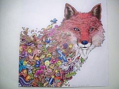 Fox Re-color (Lynne M. B.) Tags: art illustration drawing fox coloring coloredpencils coloringbook animorphia