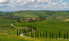 Cypresses Toscane (Raymond van der Zalm) Tags: road sky italy green clouds colours shine salmon sunny hills land toscane cypresses ends creations