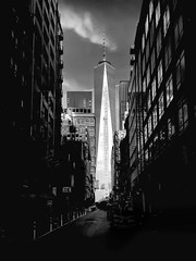 Awakening Shadows Vll (Terp's ~ R. Terpolilli) Tags: nyc newyorkcity blackandwhite monochrome architecture alley manhattan worldtradecenter fineartphotography blackandwhitephotography downtownmanhattan freedomtower oneworldtower richterpolillicom