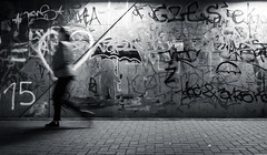 Writing's on the Wall (marcin baran) Tags: graffiti grafitti writing wall city urban vibe person woman walk walking motion blur blurry heart bw black white blackwhite blackandwhite mono monochrome gliwice poland zabrze polska fuji fujifilm x100 x100t pavement subway bridge candid candidphotography