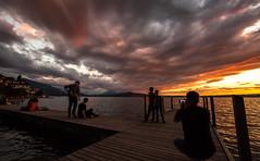 Say Cheese! (He_Da) Tags: sunset sun silhouette clouds schweiz switzerland sonnenuntergang wolken zug alpen altstadt sonne oldcity afterglow landingstage swissalps abendrot zugersee bootssteg