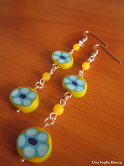 orecchini gialli murrine (Nhenya) Tags: cernit fimo handmade polymer clay murrine earrings orecchini