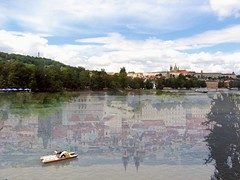 Prague Underwater (jann.haemers) Tags: photoshop prague czechrepublic europe reflection water city praag tsjechi europa outdoor outside green trees summer 2014 tnkerk moldau rivier river