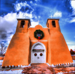 """San Francisco de Asis Mission Church (SmokinToast Thanks for over 2 million views) Tags: show camera travel family blue light sunset summer wallpaper sky bw usa cloud sun abstract mountains newmexico santafe southwest color art love church beautiful saint composition america canon landscape photo cool interesting friend perfect colorful skies dof shot dynamic adams god bokeh toast awesome jesus scenic picture romance holy explore telephoto photograph american western mission 5d priest overlook smokin hdr ansel iphone asis compose ipad photomatix coolshot tonemapped 2013 """"sanfrancisco"""" """"pictureperfect"""" """"markii"""" """"sanfranciscodeasismissionchurch"""""""