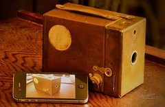 1930 Kodak vs iPhone - Project Flickr 21/52: Technology (James Milstid) Tags: film technology kodak boxcamera 120mm 1930 oldandnew iphone projectflickr 1930kodak