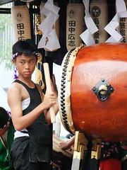 Lacking the spirit of Taiko drumming (yusuf ks) Tags: festival tokyo little candid jakarta matsuri blokm 2013 melawai ennichisai