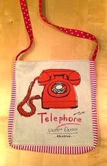 Red Telephone, Stripe and Polka Dot Tote with Magnetic closure (Chickpeap) Tags: red white electric bag book code linen turquoise library telephone stripe polka dot retro spots cotton area western strap tote operator magnetic closure 704 782