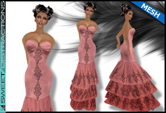 Mesh Tiered Lace Mermaid Gown in Wine (Sweet Distractions) Tags: life mesh sweet lace sl bridesmaid second gown mermaid rigged distractions