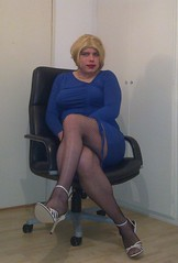 blonde in blue dress and white heels (Barb78ara) Tags: blond blonde fishnets secretary stilettoheels officegirl bluedress whiteheels sandalettes fishnetsbody strappysandalettes