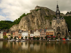 Dinant on the Banks of the Meuse (Brandon46142) Tags: b summer church water beer abbey canon river french europe european cityscape belgium belgique cloudy euro citadel low ale july eu bank landmark cliffs countries be leffe belgian bier notre dame stad dinant collegiate meuse namur belge benelux belgisch walloon wallonia g9 2013