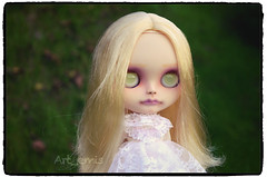 Mallory (Art_emis) Tags: new white art girl make up work hair photography doll long hand dress handmade ooak character painted blond blythe mold prima middle custom dolly phantom takara aubrey encore mallory ruka parted rbl reshaped