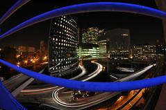 La Dfense (FredM.) Tags: longexposure blue light paris architecture night nikon bleu lumiere nightlight nuit 92 ladfense d90 hautdeseine cmwdblue