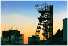 Monument of a Industry (4th Life Photography) Tags: old blue shadow panorama orange sunlight black building art industry monument skyline museum architecture modern evening twilight construction sundown symbol poland mining production coal shape katowice silesia heavyindustry engeenering