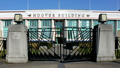 Hoover Building, Western Avenue (shadow_in_the_water) Tags: hooverbuilding hooverfactory architecture wallisgilbertandpartners artdeco lanterns gatepiers gate wroughtiron westernavenue perivale middlesex greaterlondon ub6 egyptinlondon