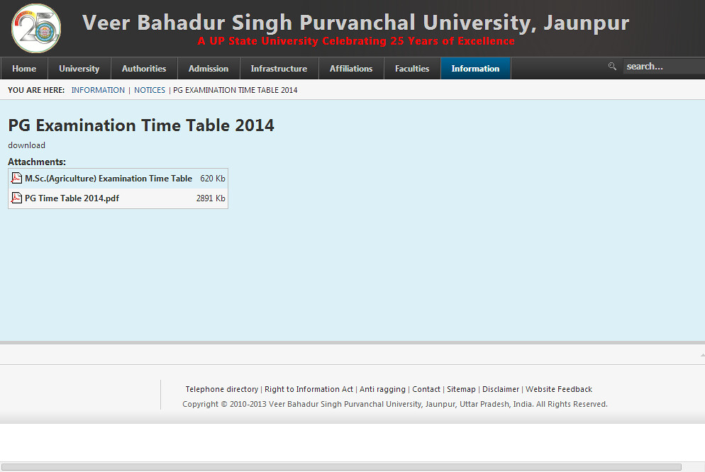 PG Examination Time Table 2014 - VBSPU (Veer Bahadur Singh Purvanchal University) - 2014