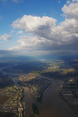 above the city (emily.choi) Tags: world above city vancouver clouds airplane flight westjet intheair blueandgreen