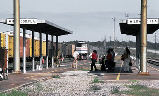 Amtrak southbound Silver Meteor is seen entering the entering station platform area at Wildwood, Florida, 1983 - 1