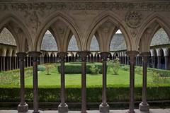 The Cloister (Mike Sirotin) Tags: france abbey architecture brittany gothic columns bretagne arches carving breizh normandie 35 normandy montsaintmichel saintmichaelsmount bassenormandie illeetvilaine ilhagwilen lowernormandie