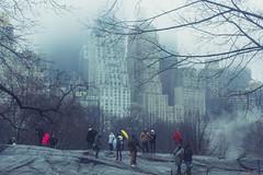 Mystic Megacity (moony: stupidly dreamy) Tags: city nyc blue winter people usa newyork cold rain fog architecture buildings cool cityscape centralpark foggy tourists rainy mystic highrises bluish