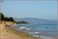 summer fun... (MEA Images) Tags: ocean california ca beach nature santabarbara canon landscape sand tide pacificocean shore hillside beachgoers waterscene picmonkey:app=editor