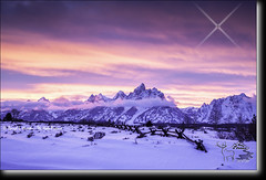 Sunset, buck rail fence, Grand Tetons (Daryl L. Hunter - Hole Picture Photo Safaris) Tags: sunset usa bravo unitedstates snakeriver pinksky jacksonhole grandtetonnationalpark